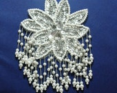 Vintage White Sparkly Beaded Sequins Pearl Flower Applique Winter