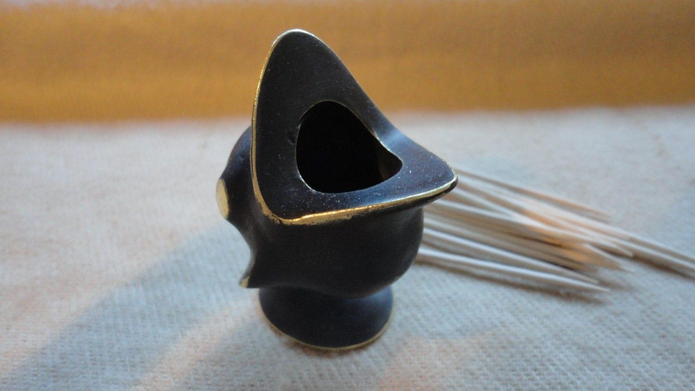 Vintage modern vienna bronze bird figurine toothpick holder - Bird toothpick holder ...