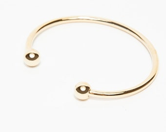 Minimalist gold cuff, cuff with two spheres on either end,  Gold Cuff, Simple Cuff, Delicate Cuff, Gold Bangle, delicate bangle