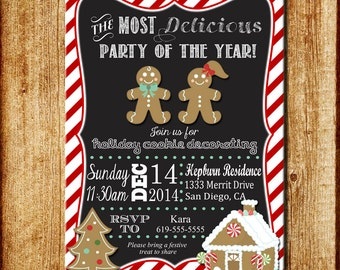Holiday Party or Cookie Decorating Party Invitation Printable Digital File