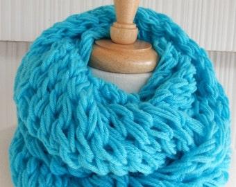 Hand Knit Scarf Womens Scarf Cowl Winter Fashion Accessories Women Infinity Scarf in Aqua blue by creationsbyellyn