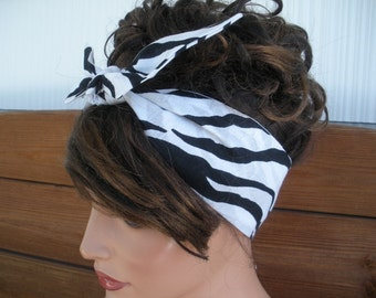 Women's Headband Dolly Bow Headband Retro Summer Fashion Accessories Women Headscarf Bandana in Black and White Zebra Print