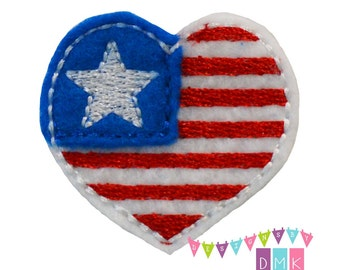 Patriotic Heart Red White Blue Felt Embroidered Embellishment Clippie Cover SET of 4