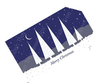 Christmas gift tags instant download, Merry Christmas, navy blue and white, fir trees moon and stars snowflakes printable.