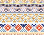 Modern Bhutanese Cross Stitch Borders - Instant Download PDF