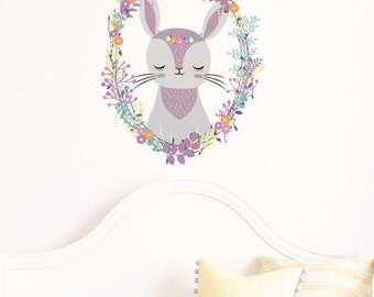 Woodland Rabbit Wreath Removable Wall Sticker | LSB0124CLR-LCN