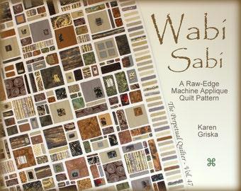 Wabi Sabi Quilt Pattern, Modern Quilt, Raw Edge Applique Quilt, Japanese Style Quilt, Twin Size Quilt,  Instant Download, qtm