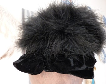 Antique French black down feather hat woman feathered velvet tilt hat head piece ladies pill box hat w velvet ribbon bow elegant accessories