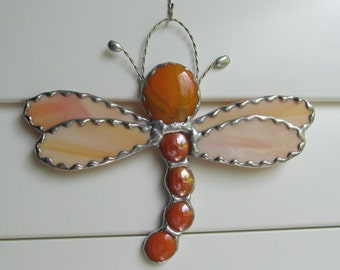 Stained Glass Dragonfly - Orange Swirled Opalescent Glass - Orange Opal Large and Mediums Gems