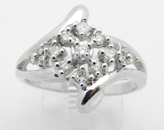 Diamond Cluster Ring 14K White Gold Round Brilliant Size 7