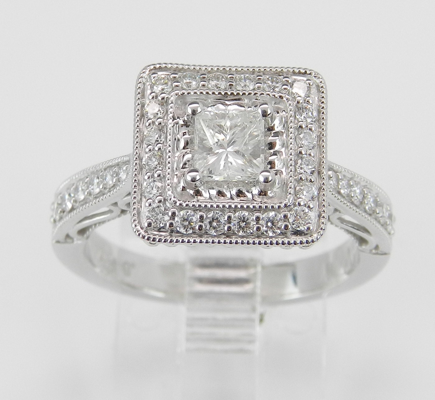 Princess Cut Diamond Halo Engagement Ring Square Diamond 14K