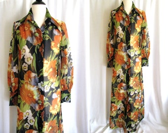 Vintage 1970s Sheer Maxi - Fred Rothschild California Sheer Floral Maxi Dress or Cover up -  Medium