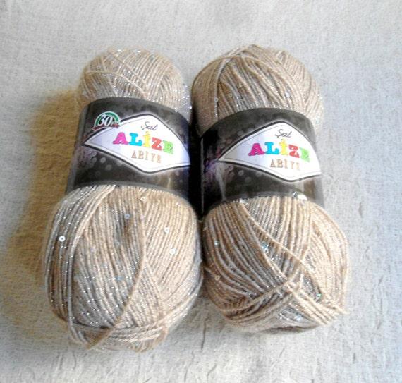 Items similar to Beige sequin yarn, Beige yarn , Each skein: 100 gr, knitting...