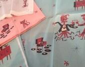 ATOMIC JIM FLORA vintage retro 50s 60s starburst star textile fabric tiki pinup rockabilly cotton new pink quilting 1950's