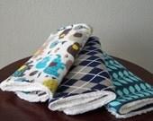 Boy Burpies/Burp Cloths - Elephant Burp Cloths - Baby Gift - Elephants & Argyle - Blue, Grey, Yellow - Elephant Nursery