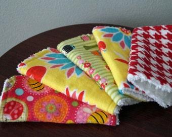 Baby Girl Wash Rags - Flowers, Butterflies - Pink, Yellow, Green & Blue  - Bath Set