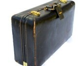 Vintage T. Anthony's leather suitcase, monogramed - very clean inside