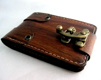 Handmade Luxry brown vegetable cow leather holder book style Card Holder