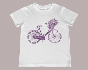 Vintage Bicycle Flower Basket Youth, Toddler and Infant TShirt, Sizes 6mo to youth XL
