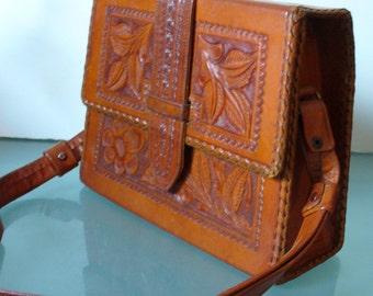 Vintage Caramel Tooled Leather Shoulder Bag