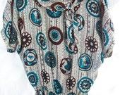 Vintage Mid Century Modern Dress ~ Turquoise Blue Brown & Black Medallion Horse Print  ~ Scarf Weight