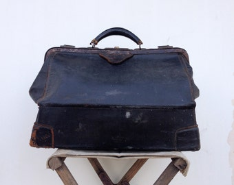 Antique Doctors Bag , Distressed Black Leather , Rustic Decor or Prop