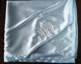 Embroidered Satin blanket, personalized satin, baby boy gift, anniversary gift, satin, silky blanket, silk blanket, monogrammed blanket