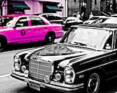 New York Photography,Neon Pink Print,Taxi,Vintage,Retro,Manhatten,Mad Men,Hot Pink, Black & White,Fashion Photography, Dorm, Preppy Pink Art