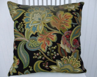 Black Gold Floral Throw Pillow Cover- Decorative Accent Pillow Cover with Pink and Green and Blue 18x18 or 20x20 or 22x22