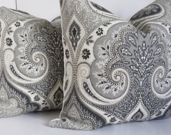 Kravet Latika Pillow Cover, Gray Pillow Cover, Gray & Cream Pillow Cover, Ivory Gray Pillow Cover