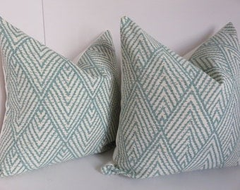 Aqua Pillow covers, Chevron Pillows, Cream Pillow covers, Zig zag Pillow Covers, Ikat Pillows, Teal Pillow Covers