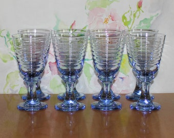 Vintage, Set of 8, Libbey Sirrus Blue Ribbed Wine Glasses