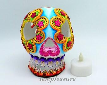 Halloween handmade Sugar skull candle holder LED