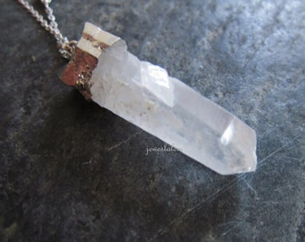 BLEMISHED Raw Quartz Necklace Silver Necklace Clear Stone Crystal Geode Raw Mineral Pendant Gemstone Rock Natural Earthy C1