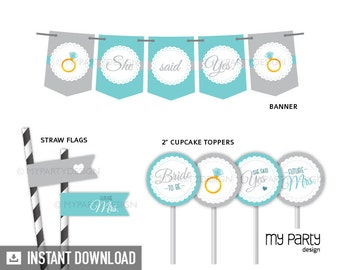 Bridal Shower Party Pack - Engagement Party - Scalloped Theme Turquoise - INSTANT DOWNLOAD - Printable PDF