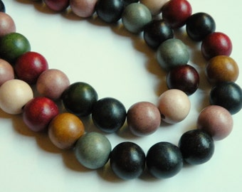 Earth Tone wood beads round fall colors eco-friendly Cheesewood 16mm full strand 1309NB