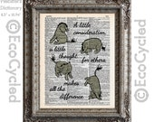 Eeyore Quote Little Consideration Makes All the Difference on Vintage Upcycled Dictionary Art Print Book Art Print Kindness Winnie the Pooh