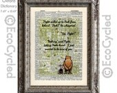 Winnie the Pooh and Piglet Quote 62 I Just Wanted to be Sure of You on Vintage Upcycled Dictionary Art Print Book Art Print Classic