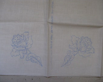 vintage stamped embroidery heavy cotton napkins set of 4 ecru rustic farmhouse gift idea