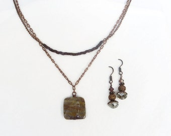 Purple, Rust and Cream square stone with copper double chain - Necklace and Earrings Set - mom, friend, sister handmade jewelry gift