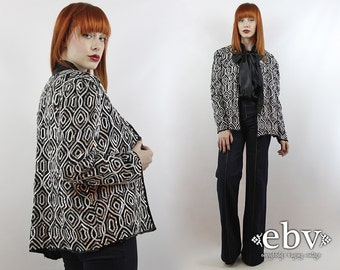 Sequin Top Party Top Silk Cardigan Silver Sequin Cardigan Black Sequin Top Vintage Black + White Sequin Cardigan L XL