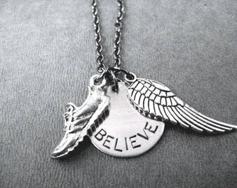 RUN BELIEVE FLY Round Pendant Necklace - Runner Necklace on Gunmetal Chain - Believe I Can Fly - Running Necklace - Running Wing Necklace