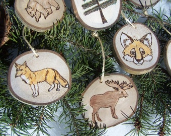 ASPEN Wood Slice Ornaments | Wood Burned Ornaments | Christmas