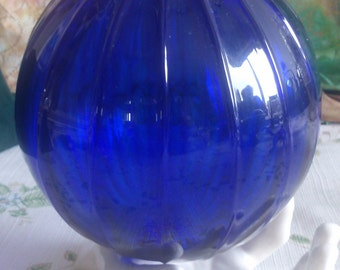 From Denmark a Hand Blown Cobalt Glass Ball for Hanging or just Setting around to Enjoy