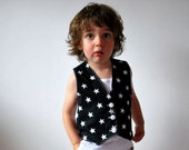 Black white waistcoat stars childrens buttoned vest rock star kids clothing wedding formal outfit boys girls cotton top baby clothes