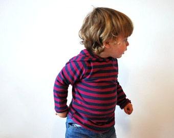 SALE - Purple childrens hoodie sie 12-18 striped blue toddler clothing kids pointy hooded sweater children jumper boy girl striped elf pixie