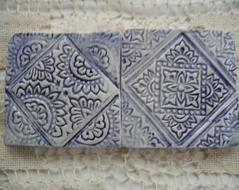Handmade Ceramic Tile - Blue  Wood Block Geometric Designs