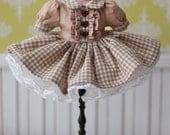 PO - Anniedollz Handmade Blythe Plaid One Piece Dress - Iced Mocha