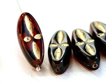 Topaz glass beads, Golden inlays, brown czech pressed beads, long oval beads, 20mm - 4Pc - 1708