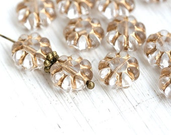 Clear Flower beads with golden inlays, Daisy bead, czech glass beads, flat flower, pressed glass, floral beads - 9mm - 20Pc - 2053